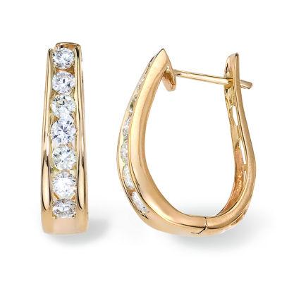 1 1/2 CT. T.W. GENUINE White Diamond 14K Gold Hoop Earrings