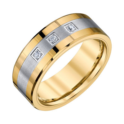 Mens 1/10 CT. T.W. White Diamond Tungsten Wedding Band