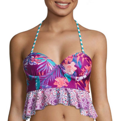 Social Angel Floral Tankini Swimsuit Top-Juniors
