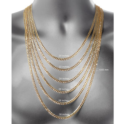 Made In Italy 18K Gold Over Silver Solid 30 Inch Chain Necklace