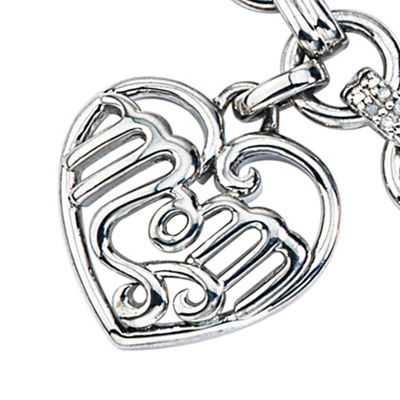 Womens 1/8 CT.T.W.  Diamond Sterling Silver Heart Charm Bracelet