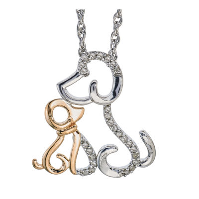 Womens Diamond Accent White Diamond 14K Gold Sterling Silver Pendant Necklace