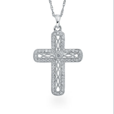 Womens 1/4 CT. T.W. Genuine White Diamond Sterling Silver Cross Pendant Necklace