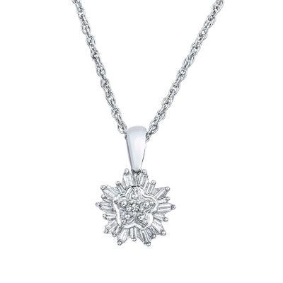 Womens 1/5 CT. T.W. Genuine White Diamond Sterling Silver Pendant Necklace