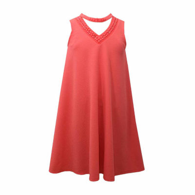 Bonnie Jean Coral Sleeveless Gigi Neck A-Line Dress - Girls' 7-16