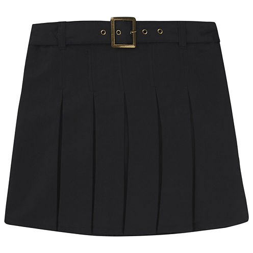 Pleated Scooter with Sqaure Buckle Belt - Big Kid Girls