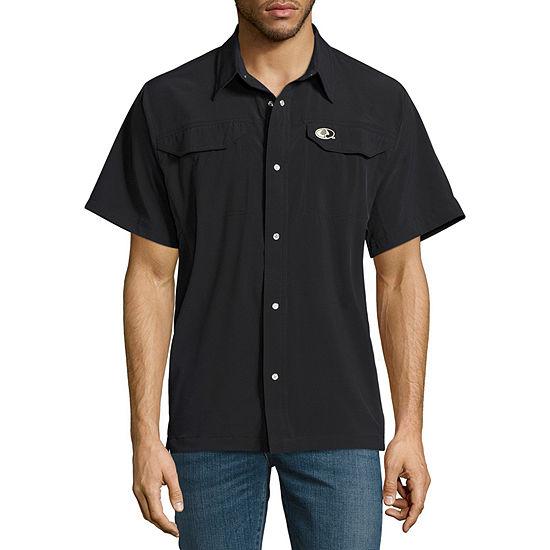 Mossy Oak Mens Short Sleeve Moisture Wicking Button-Front Shirt