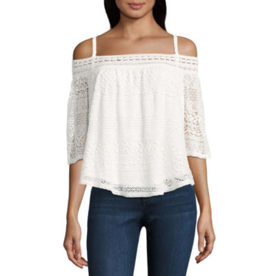 by&by Short Sleeve Boat Neck Knit Lace Blouse-Juniors