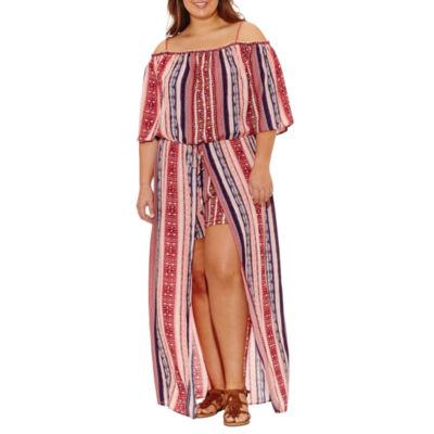 City Triangle Elbow Sleeve Pattern Maxi Dress-Juniors Plus