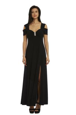R & M Richards Cold Shoulder Short Sleeve Maxi Dress-Petites