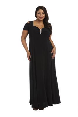 R & M Richards Cold Shoulder Short Sleeve Maxi Dress-Plus