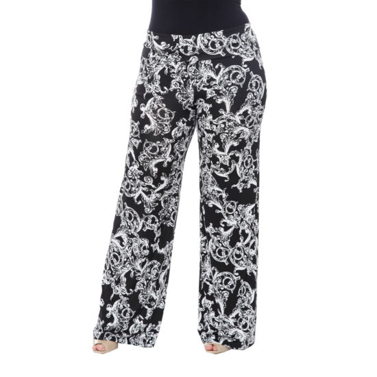 White Mark Printed Cheetah Palazzo Pants-Plus