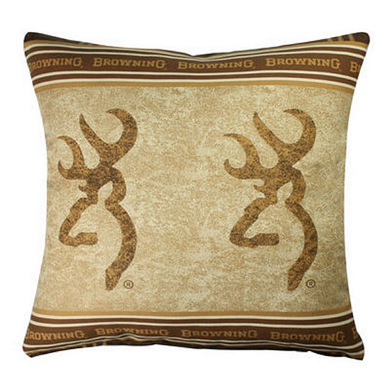 Browning Buckmark Brown 18x18 Square Throw Pillow