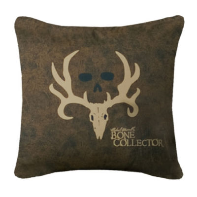 Bone Collector 20x20 Square Brown Throw Pillow