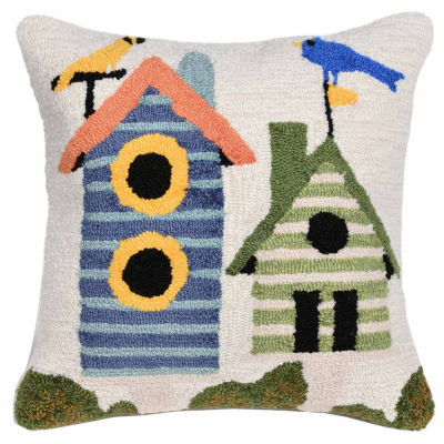 Liora Manne Frontporch Birdhouses Square Outdoor Pillow