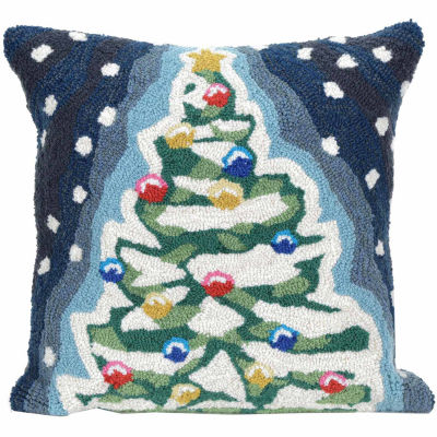 Liora Manne Frontporch Xmas Tree Square Outdoor Pillow