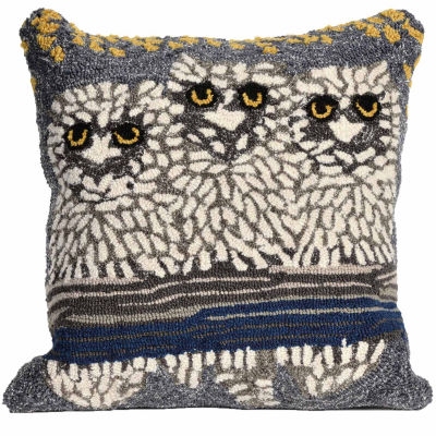 Liora Manne Frontporch Owls Square Outdoor Pillow