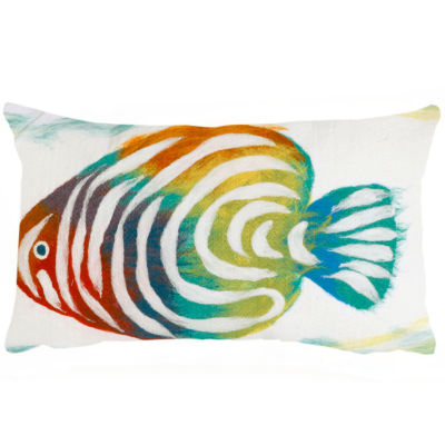 Liora Manne Visions Iii Rainbow Fish Rectangular Outdoor Pillow