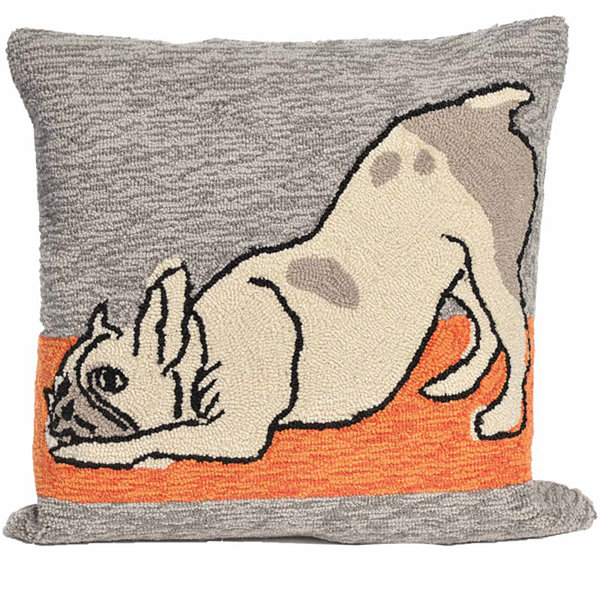 Liora Manne Frontporch Yoga Dogs Square Outdoor Pillow