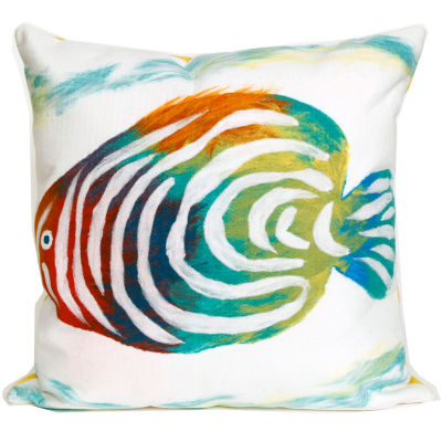 Liora Manne Visions Iii Rainbow Fish Square Outdoor Pillow