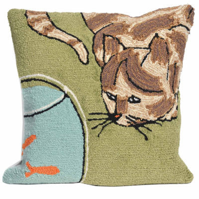 Liora Manne Frontporch Curious Cat Square Outdoor Pillow