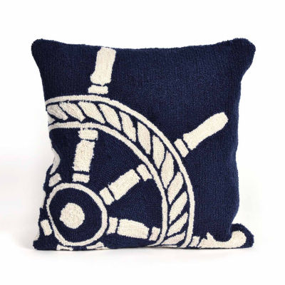 Liora Manne Frontporch Ship Wheel Square Outdoor Pillow