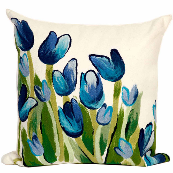 Liora Manne Visions Ii Allover Tulips Square Outdoor Pillow