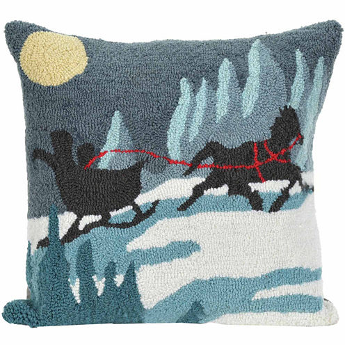 Liora Manne Frontporch Sleigh Ride Square Outdoor Pillow