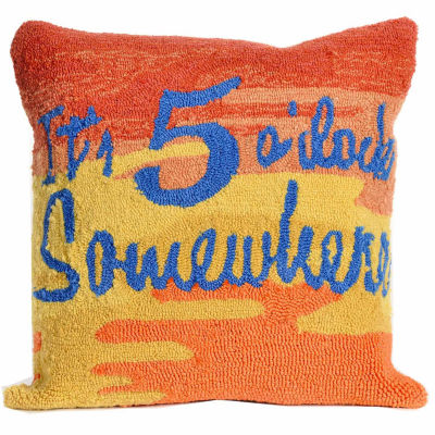 Liora Manne Frontporch It'S 5 O'Clock Square Outdoor Pillow