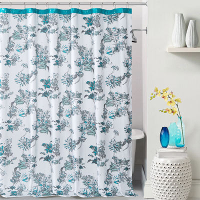 Duck River Alice Polycotton With Faux Leather Border Shower Curtain