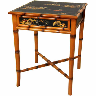 Oriental Furniture Rosewood Two-Tone Long Life Accent Cabinet