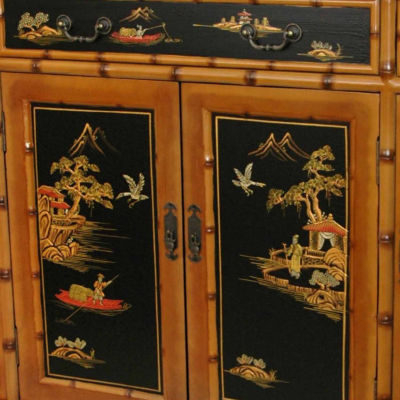 Oriental Furniture Rosewood Antique Black Long Life Accent Cabinet