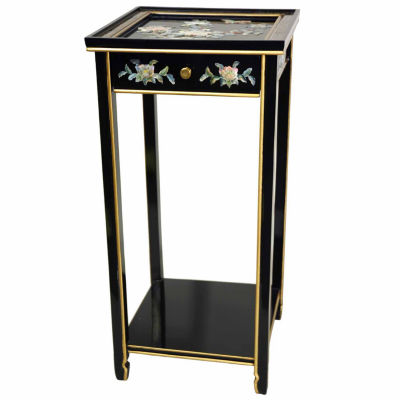 Oriental Furniture Birds And Flowers End Table