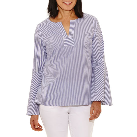 Rafaella Long Sleeve Split Crew Neck Poplin Blouse
