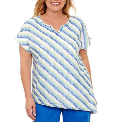 Alfred Dunner Corsica Stripe Mesh T-Shirt- Plus
