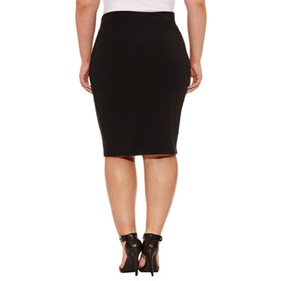 Boutique + Knit Pencil Skirt - Plus
