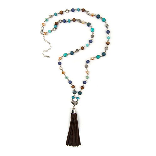 Arizona Bead Suede Tassel Silver-Tone Necklace