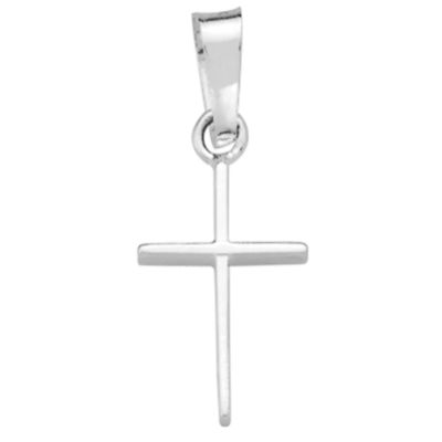 14K White Gold Polished Cross Charm Pendant