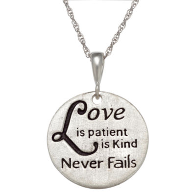 "Personalized Sterling Silver ""Love"" Engravable Circle Pendant Necklace"