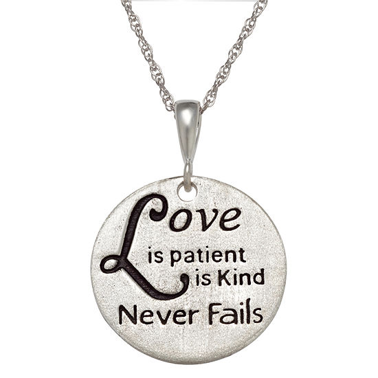 """Personalized Sterling Silver """"Love"""" Engravable Circle Pendant Necklace"""
