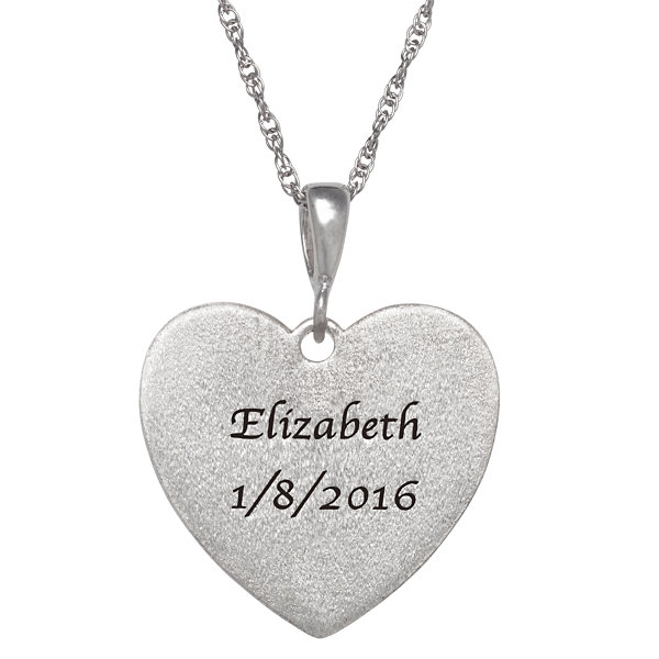 "Personalized Sterling Silver ""Faith"" Engravable Heart Pendant Necklace"