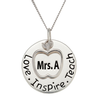 Personalized Sterling Silver Teacher's Name Pendant Necklace