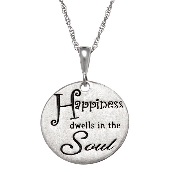"Personalized Sterling Silver ""Happiness"" Engravable  Pendant Necklace"