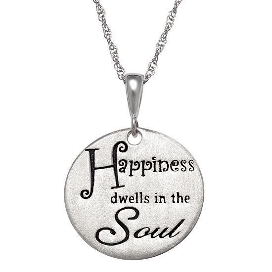 """Personalized Sterling Silver """"Happiness"""" Engravable  Pendant Necklace"""