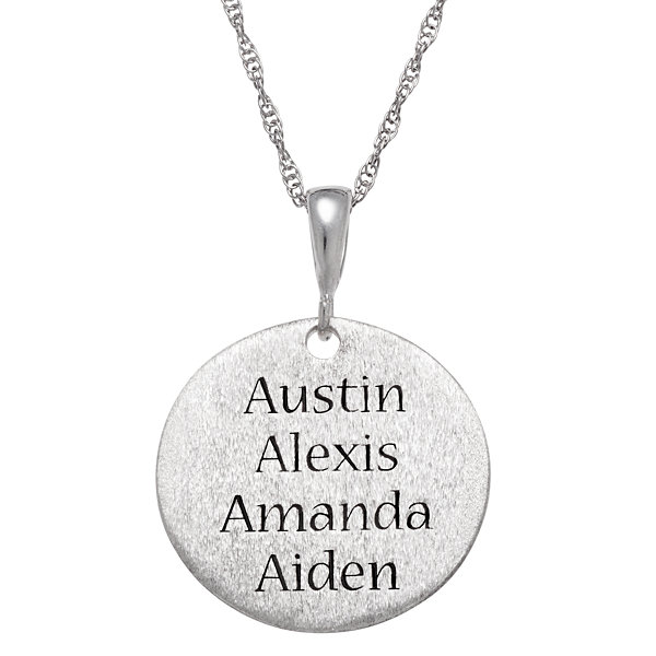 "Personalized Sterling Silver ""Moms Are A Work Of Heart"" Engravable Circle Pendant Necklace"