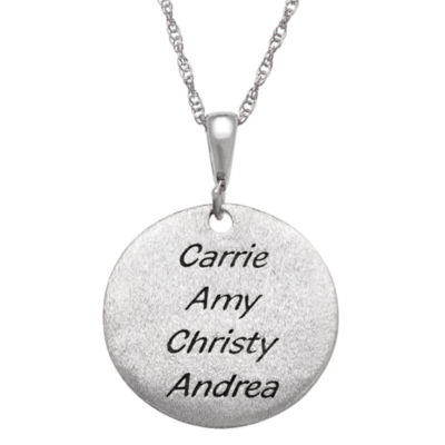 "Personalized Sterling Silver ""Sisters"" Engravable Circle Pendant Necklace"