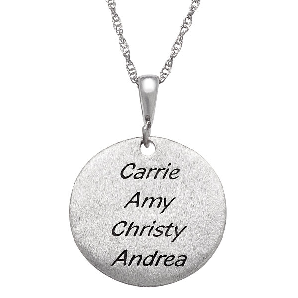"Personalized Sterling Silver ""I Love You To The Moon & Back"" Engravable Circle Pendant Necklace"