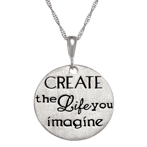 """Personalized Sterling Silver """"Create The Life You Imagine"""" Engravable Pendant Necklace"""