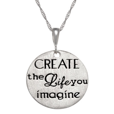 "Personalized Sterling Silver ""Create The Life You Imagine"" Engravable Pendant Necklace"