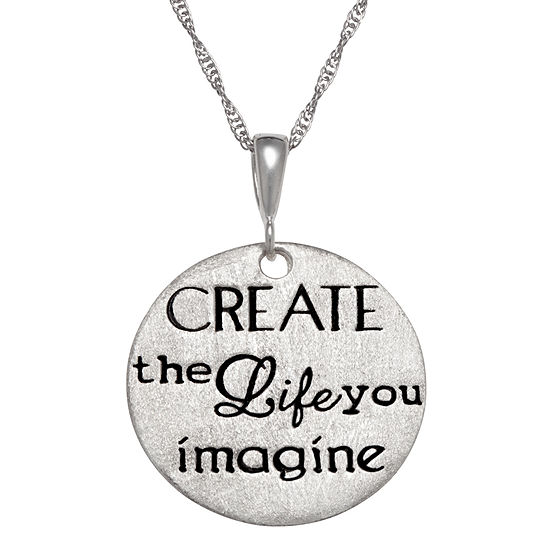 Personalized Sterling Silver Create The Life You Imagine Engravable Pendant Necklace